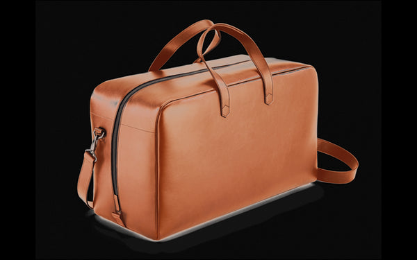 Caran D'ache BEIGE LEATHER WEEKEND TRAVEL BAG