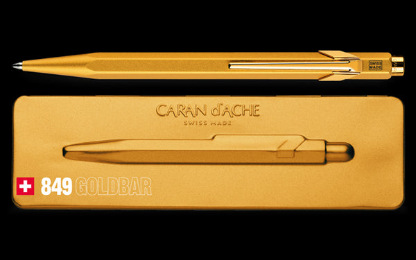 Caran D'Ache 849 GOLDBAR Ballpoint Pen, with Holder