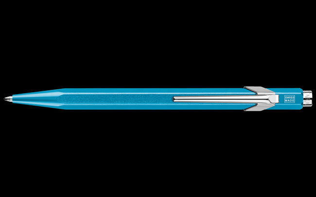 Caran D'Ache 849 POPLINE Metallic Turquoise Ballpoint Pen, with Holder