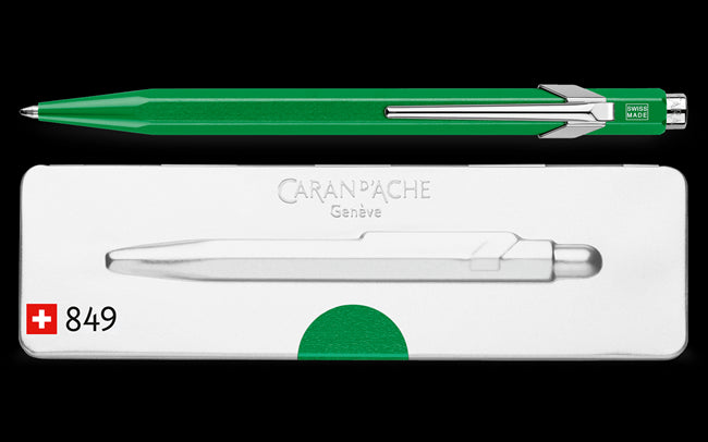Caran D'Ache 849 POPLINE Metallic Green Ballpoint Pen, with Holder