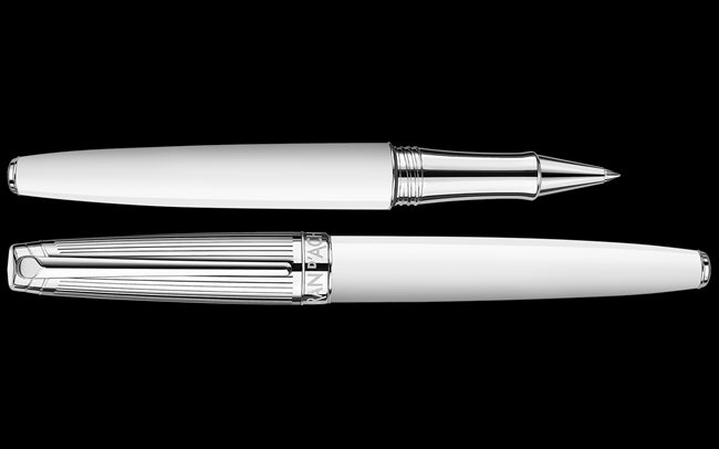 Caran D'ache Silver-Plated, Rhodium-Coated LÉMAN BICOLOR White Roller Pen