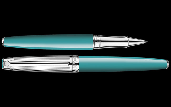 Caran D'ache Silver-Plated, Rhodium-Coated LÉMAN BICOLOR Turquoise Roller Pen