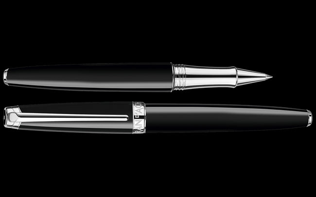 Caran d'Ache Silver-Plated, Rhodium-Coated LÉMAN EBONY BLACK Roller Pen