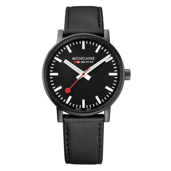 Mondaine Evo2 40mm Black Leather Watch MSE.40121.LB