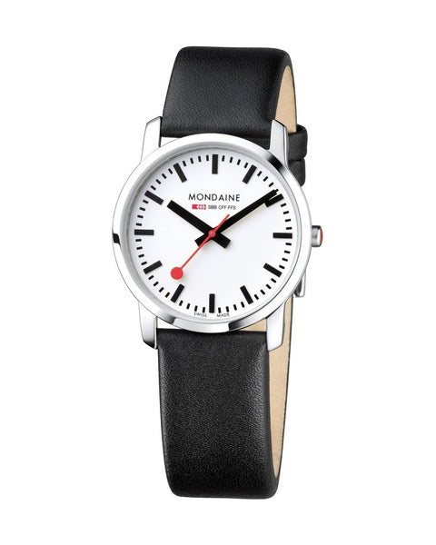 Mondaine Simply Elegant 36 mm Black Leather Watch A400.30351.11SBB