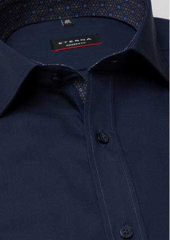 Eterna Modern Fit Non-Iron Shirt Navy with Contrast Collar