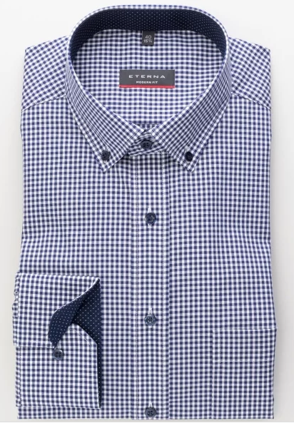Eterna Modern Fit Non-Iron Shirt Gingham Navy with Contrast Collar