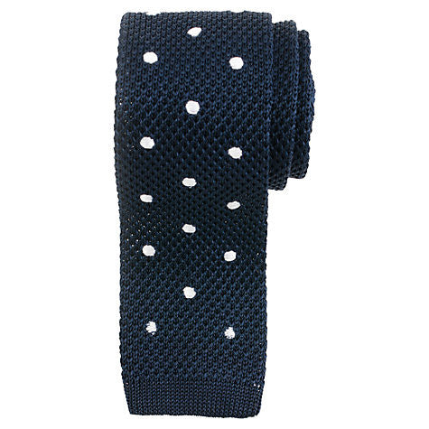 Bogart Exclusive Polka-Dot Knitted Tie - Navy