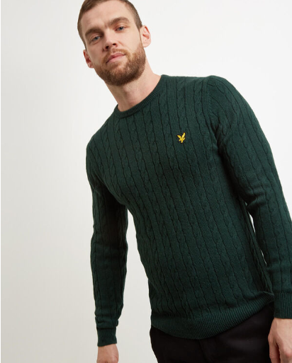 Lyle & Scott Cable Knit Jumper (Green)