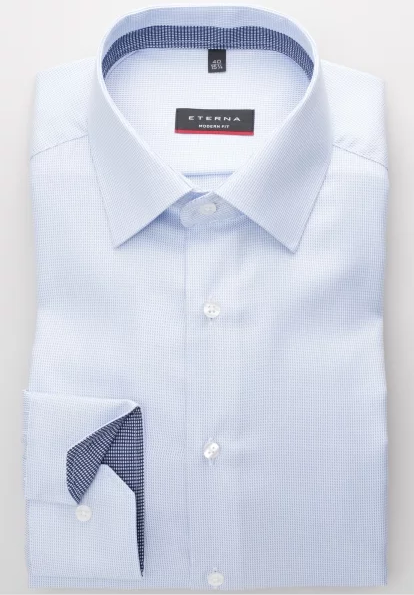 Eterna Modern Fit Non-Iron Shirt Structured Light Blue with Contrast Collar
