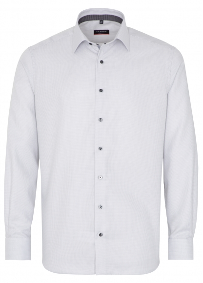 Eterna Modern Fit Non-Iron Shirt Structured Grey with Contrast Collar