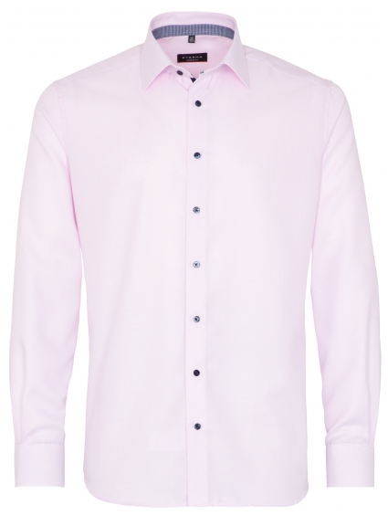 Eterna Modern Fit Non-Iron Shirt Structured Pink with Contrast Collar