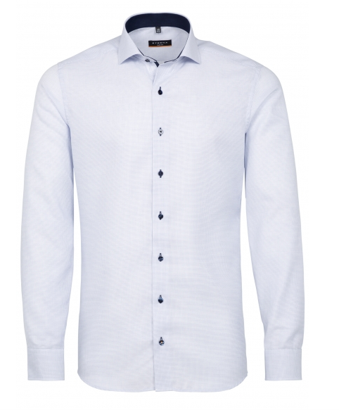 Eterna Slim Fit Non-Iron Shirt Structured Light Blue