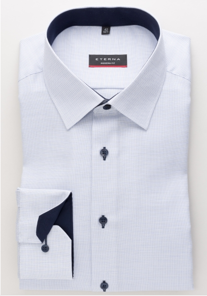 Eterna Modern Fit Non-Iron Shirt Textured Blue with Contrast Collar