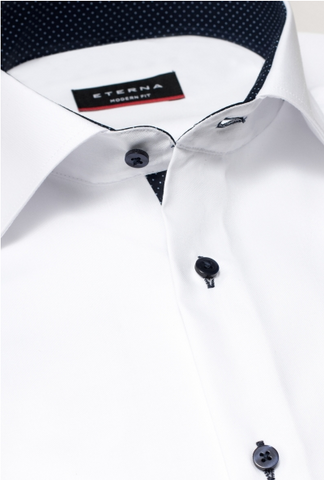 Eterna Modern Fit Non-Iron Shirt White with Contrast Collar