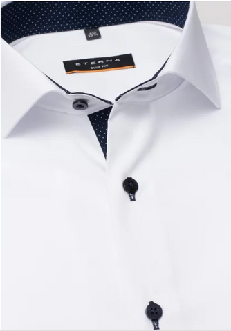 Eterna Slim Fit Non-Iron Shirt White with Contrast Collar