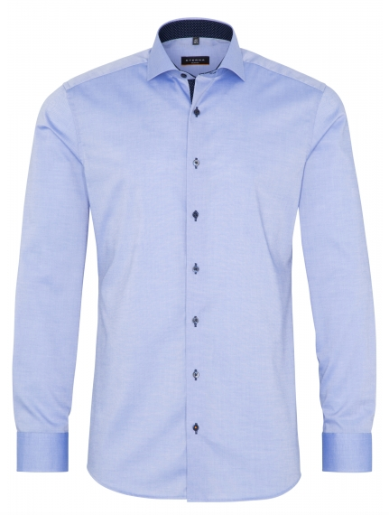 Eterna Slim Fit Non-Iron Shirt Blue with Contrast Collar