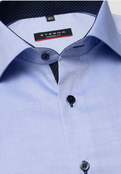 Eterna Modern Fit Non-Iron Shirt Blue with Contrast Collar
