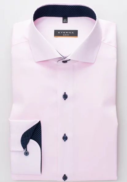 Eterna Slim Fit Non-Iron Shirt Pink with Contrast Collar