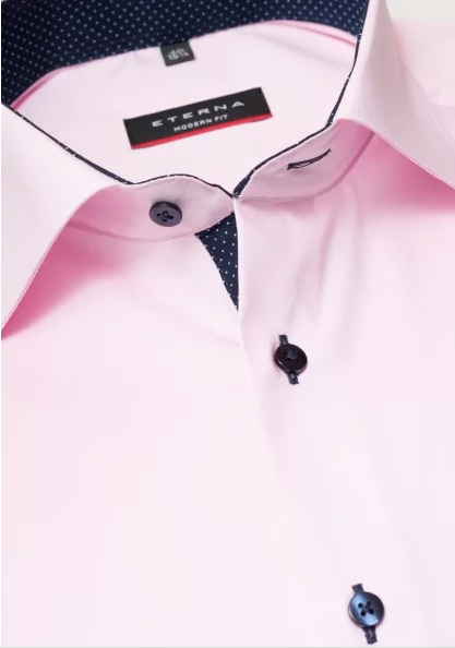 Eterna Modern Fit Non-Iron Shirt Pink with Contrast Collar
