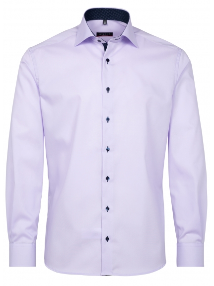 Eterna Modern Fit Non-Iron Shirt Purple with Contrast Collar