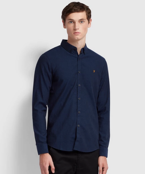 Farah Steen Slim Fit Brushed Cotton Oxford Shirt (Navy)