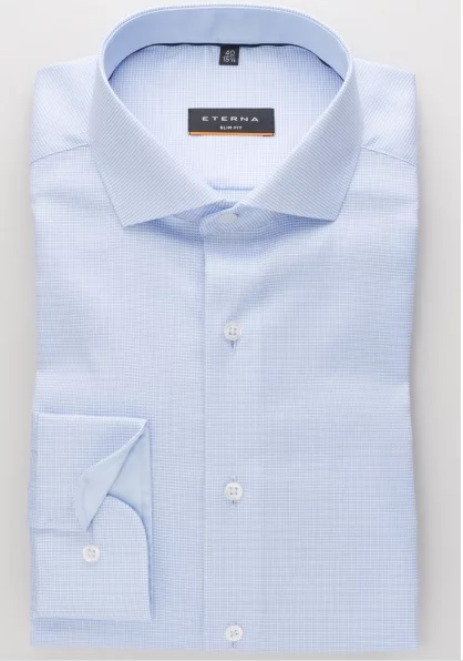 Eterna Slim Fit Non-Iron Shirt Light Blue Natte