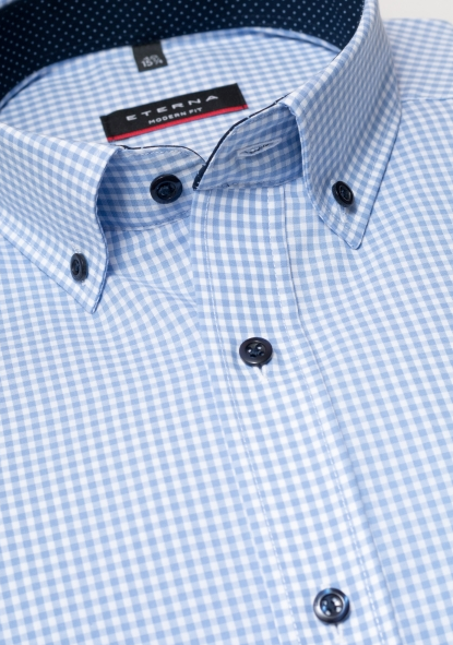 Eterna Modern Fit Non-Iron Shirt Gingham Light Blue with Contrast Collar