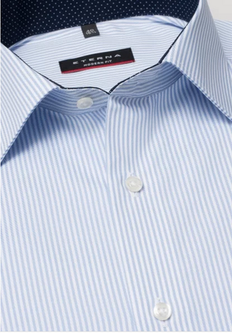 Eterna Modern Fit Non-Iron Shirt Light Blue Pin Stripe