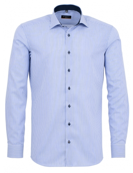 Eterna Slim Fit Non-Iron Shirt Light Blue Pin Stripe