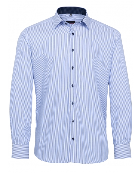 Eterna Modern Fit Non-Iron Shirt Blue Pin Stripe