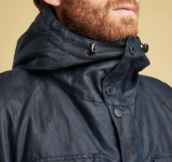 Barbour Coll Waxed Parka Jacket (Navy)