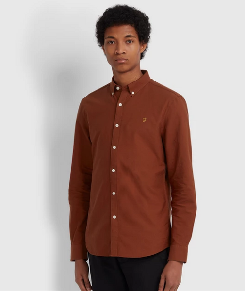Farah Brewer Oxford Shirt (Burnt Red)