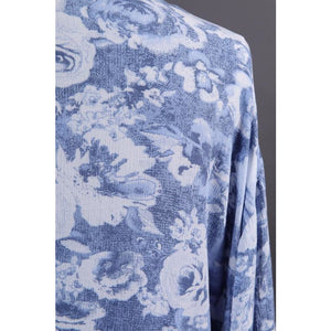 """Summer Gardens"" Blue Floral Tie-front Cover-up"