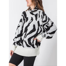 "Load image into Gallery viewer, ""Kiara"" Mock-neck Zebra Sweater"