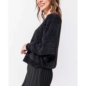 """Faye"" Soft Chenille Sweater - Black"