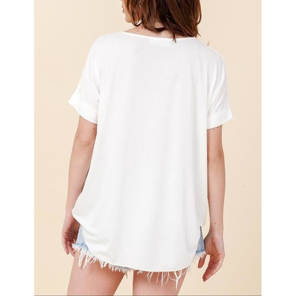 """Emmy"" Crossover Surplice Top - White"
