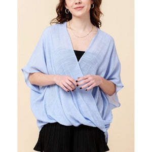 """Summer Breeze"" Wrap-Front Blouse - Sky"