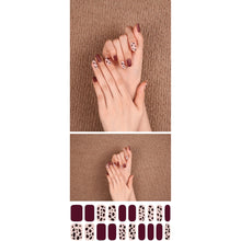 Load image into Gallery viewer, Gel Nail Stickers - Burgundy Leopard (Matte Finish)