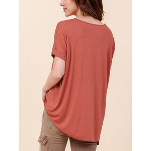 """Emmy"" Crossover Surplice Top - Clay"