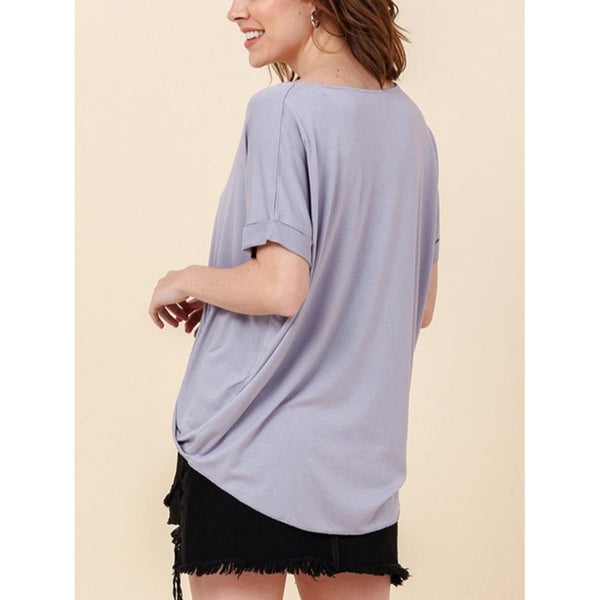 """Emmy"" Crossover Surplice Top - Lavender"