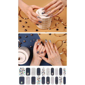Gel Nail Stickers - Charcoal Blue Mosaic