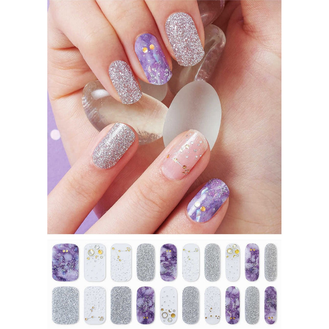 Gel Nail Stickers - Purple Galaxy