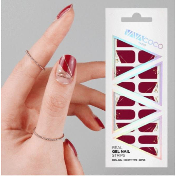 Gel Nail Stickers - Geometric Wine