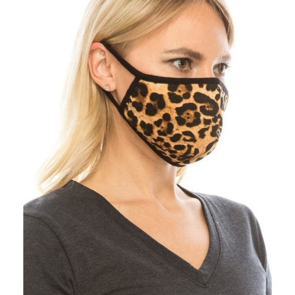 Cotton Leopard Printed Re-usable Face Mask (Filter Pocket)