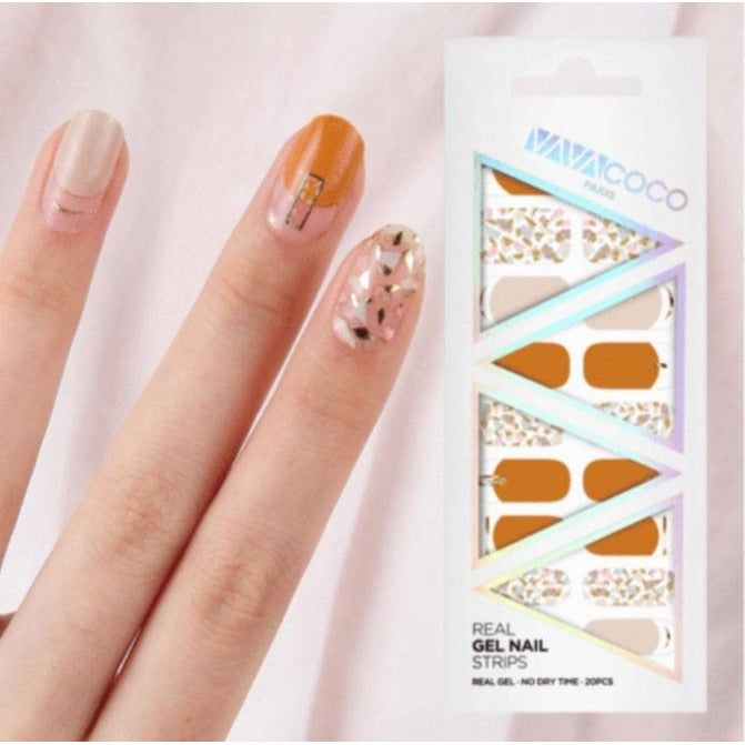 Gel Nail Stickers - Shattered Stones (Tangerine/Pink/Olive)