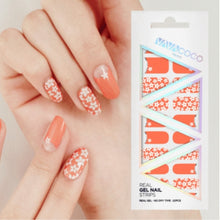 Load image into Gallery viewer, Gel Nail Stickers - Scattered Lilies (Coral/Tan/Chartreuse)