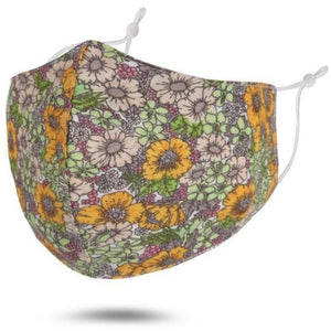 Reusable Cotton Face Mask (Mustard-Multi Floral)