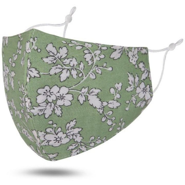 Reusable Cotton Face Mask (Sage Floral)