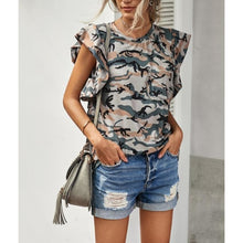 "Load image into Gallery viewer, ""Amber-Camo"" Ruffle Sleeved Top"